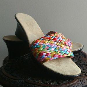 Colorful Woven Wedge Sandals - Made In Italy